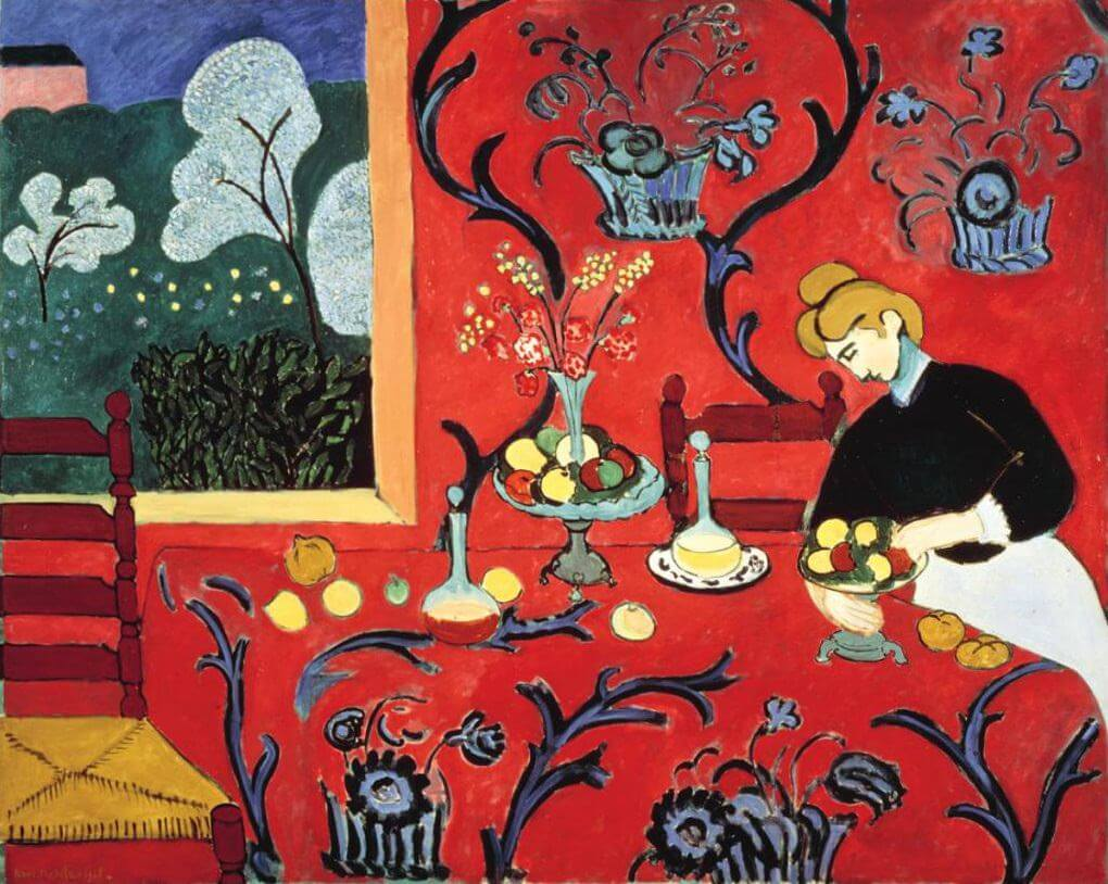 The dessert harmony in red 1908 by henri matisse for Le violoniste a la fenetre henri matisse